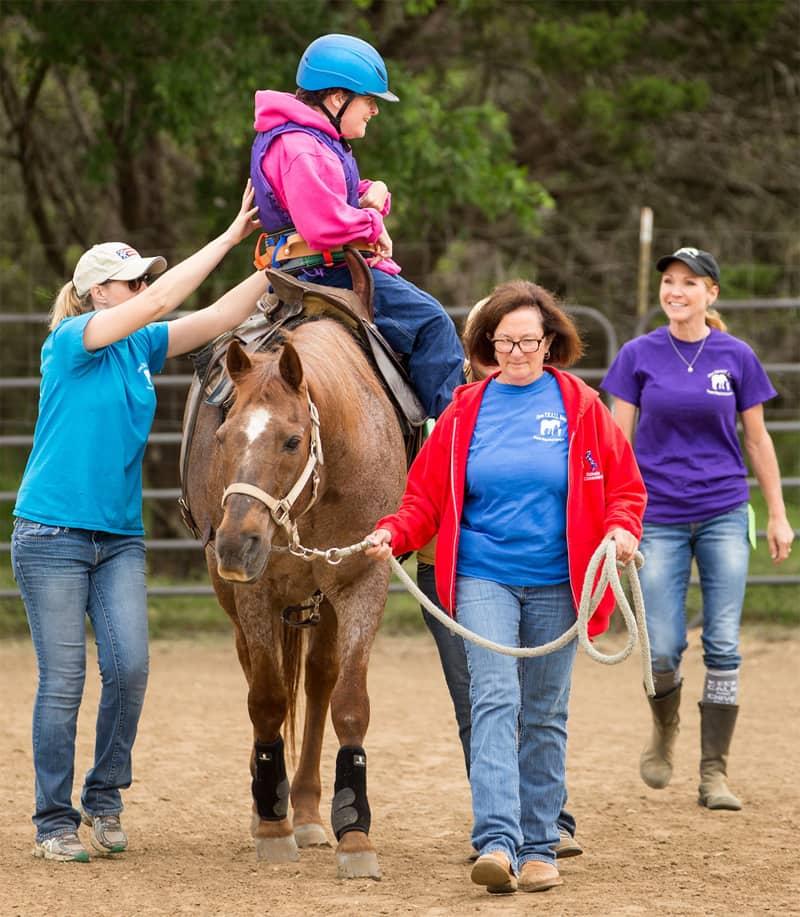 Horse handler in arena
